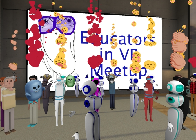 Educators in VR Meetup 2018 in Altspace - emojis to celebrate the first event.
