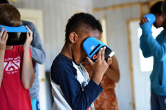 Children of South Carolina Air National Guard Airmen participate in the S.C. Military Kids program at McEntire Joint National Guard Base, Sept. 17, 2017. SCANG youth experienced virtual reality goggles, drone flying, unplugged coding, computer science and expeditions during the two-day event, which introduces youth to possible careers. SCMK is designed to provide support to the children and youth of families that are impacted by global contingency operations. (U.S. Air National Guard photo by Master Sgt. Caycee Watson)