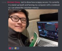 Michael Zhang volunteer Educators in VR International Summit - cooling laptop to stay connected