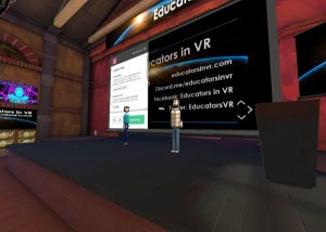 Speakers rehearse with slides in the Educators in VR International Summit practice spaces.