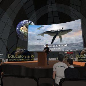 Alvin Wang Graylin of HTC Vive speaking in Engage at the 2020 Educators in VR International Summit.