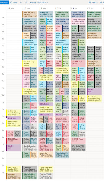 Outlook.com schedule for 2020 Educators in VR International Summit.