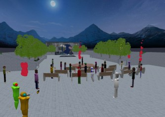 Educators in VR Rental World - Social Terrace with benches